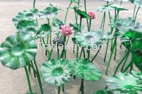 Modern large outdoor garden bank hotel interior hall decorative hand made chihuly style handmade glass lotus flower combination sculpture