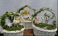 Willow Basket & Natural Material & Flower Basket with plastic liner
