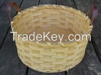 Cheap Handmade Woodchip Basket With Knob.