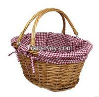 Handmade Wicker Basket With Folded Handle.