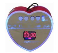 Heart USB TF Card Speaker with Blue backlight LED display Line in Jack rechargeable battery Alarm clock FM Radio