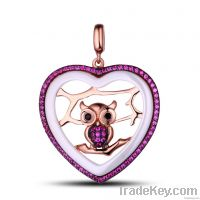 925 sterling silver with ceramic pendants
