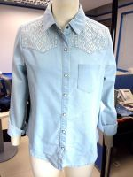 2014 Women Light Blue Denim Embrodiery Shirt