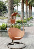 Outdoor Brown Rattan Hammock Chair Set Furniture