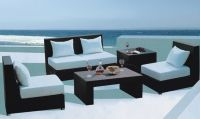 Garden new pe rattan armless sofa set furniture with cushions