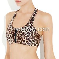 removable cup custom sublimated zipped padded sports bra