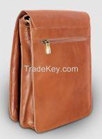 "Pure Leather Men's Messenger Handbag - Enough space to hold 14"" Laptop Plus"