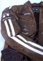 Leather Jacket men brown with stripes