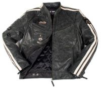 Leather Jacket men black striped