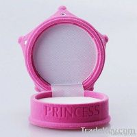 cute princess crown pink flocking jewelry box