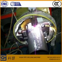 Automatic welding machine with open head for pipe girth joint
