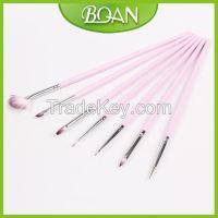 BQAN 6PCS Pink Wooden Handle Nylon Hair Nail Design Nail Art Brush Set