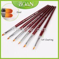 BQAN UV Coating Red Wooden Handle Oval Nail Art Design UV Gel Brush