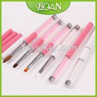 BQAN Pink Crystal Rhinestone Metal Handle 3D Nail Art Supplies for Nail Brushes Nail Art