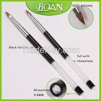 BQAN Big Diamond End Decorative Black Full Rhinestone Acrylic Pure Kolinsky Brush for Acrylics