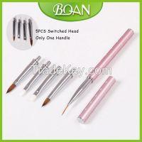 BQAN One Pink Metal Handle + 5PCS Hair Head Professional Design Art Nail Brush Kolinsky