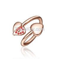 Fashion Cute Chunky Hearts Women Wedding Ring 18K GP Rhinestone Jewelry Size 8