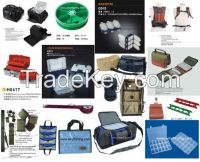 fishing tackle box, fishing bag, lure bag, reel bag, rods cast, lure case, fly reel case, fishing vest, plastic box, rods bag, sinker box,