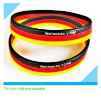 fashion three line silicone bracelet with laser logo