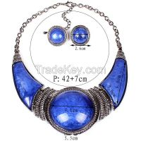 Colored resin necklace Round necklace crescent Necklace