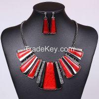 Colorful necklace trapezoidal strip gun black color MD-1412