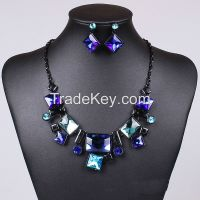 Stained glass square necklace square rectangle earrings Sets MD-1415