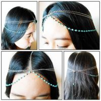 Hair Chain Accessory, Silver Chain with Turquoise Beads, Head Chain, Layered Hair Chain, Hair Jewelry. JH1006