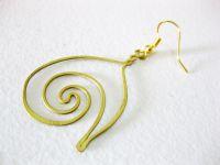 Brass Dangle Earrings, Swirl Brass Earrings, Fashion Designs, Handmade Earrings, Brass Jewelry, Thailand Handmade. JE1001