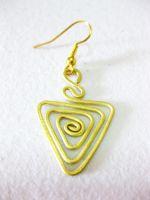 Brass Dangle Earrings, Triangle Brass Earrings, Fashion Designs, Handmade Earrings, Brass Jewelry, Thailand Handmade. JE1002