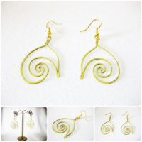 Brass Dangle Earrings, Swirl Brass Earrings, Fashion Designs, Handmade Earrings, Brass Jewelry, Thailand Handmade. JE1001