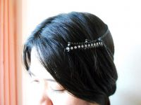 Layered Hair Chain Accessory, Bohemian Chic Diamond Crystal, Black Chain, Hairpiece, Hair Jewelry, Celebrity. JH1002