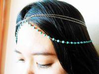 Hair Chain Accessory, Silver Chain with Turquoise Beads, Head Chain, Layered Hair Chain, Hair Jewelry. JH1006