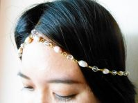Hair Chain Accessory, Gold Chain with Pearls and Crystal Beads, Head Chain, Head Piece, Hair Jewelry. JH1004