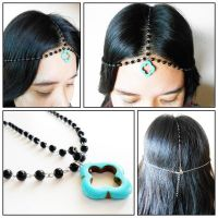 Hair Chain Accessory, Black Onyx with Turquoise Beads, Head Chain, Head Piece, Hair Jewelry. JH1005