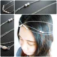 Hair Chain Accessory, Silver Chains with Pearls and Crystal Beads, Head Chain, Hair Jewelry. JH1007