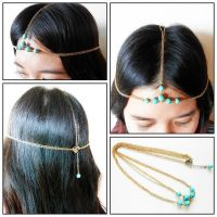Hair Chain Accessory, Summer Gold & Silver with Turquoise Beads, Head Chain, Head Piece, Hair Jewelry. JH1003