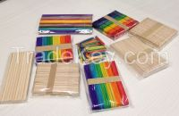 Wooden Ice Cream Spoons and Sticks, colorful wooden crafts sticks