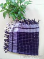 Shinny Lurex Checked Plaid Chequered Scarf Shawl Wrap Stole With Tasse