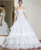 HY128 Adorable A line sweetheart removable short sleeve layered lace and tulle wedding dresses 2014 bridal