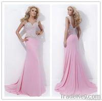 Hot Sale High Quality Chiffon Pink Sexy Prom Dress