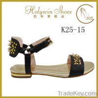 Holywin 2014 new design gold metal heel studs black women sandals