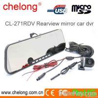 2.7inch dual camera 1080p car dvr rearview mirror dash camera