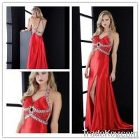 2013Cheap Unique Under 200 Halter Side Slit Beaded Red Prom Dress