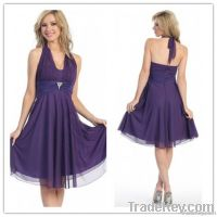 2013Cheap Junior Halter Beaded Backless Purple Bridesmaid Dress