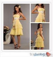 New Design Chiffon Yellow  With Sash Tiered Bridesmaid Dress