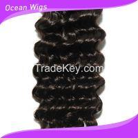 "Brazilian Virgin remy hair weft 6A deep wave natural color 12""-22"""