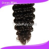 "Brazilian Virgin remy hair weft 6A deep wave natural color 12""-22"""