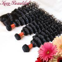 Unprocessed Deep Wave Peruvian Virgin Human Hair 4pcs Lot Middle Part Lace Closure With 3pcs Wefts, Bleached Knots