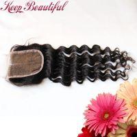 100% Unprocessed Deep Wave Peruvian Virgin Human Hair Lace Closure Bleached Knots