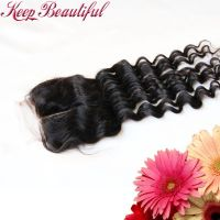 100% Unprocessed Deep Wave Peruvian Virgin Human Hair Lace Closure Bleached Knots